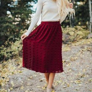 POLAGRAM Modest Midi Skirt Swiss Dot Burgundy S